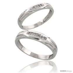 Sterling Silver Diamond 2 Piece Wedding Ring Set His 4.5mm & Hers 3.5mm Rhodium finish