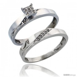 Sterling Silver Ladies' 2-Piece Diamond Engagement Wedding Ring Set Rhodium finish, 1/8 in wide -Style Ag015e2