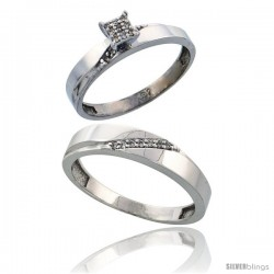 Sterling Silver 2-Piece Diamond wedding Engagement Ring Set for Him & Her Rhodium finish, 3.5mm & 4.5mm wide -Style Ag015em