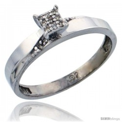 Sterling Silver Diamond Engagement Ring Rhodium finish, 1/8inch wide -Style Ag015er