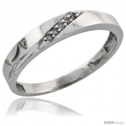 Sterling Silver Ladies' Diamond Wedding Band Rhodium finish, 1/8 in wide -Style Ag015lb