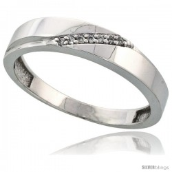 Sterling Silver Men's Diamond Wedding Band Rhodium finish, 3/16 in wide -Style Ag015mb