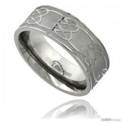 Titanium 8mm Flat Wedding Band Ring Celtic Knot Pattern Matte Finish Background Comfort-fit