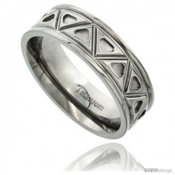 Titanium 7mm Flat Wedding Band Ring Aztec Pattern Polished Finish Comfort-fit