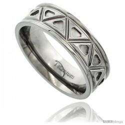 Titanium 7mm Flat Wedding Band Ring Aztec Pattern Polished Finish Comfort-fit