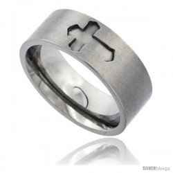 Titanium 8mm Flat Wedding Band Ring Carved Passion Cross Matte Finish Comfort-fit