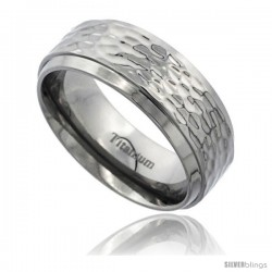 Titanium 8mm Flat Wedding Band Ring Polish Hammered Finish beveled Edges Comfort-fit