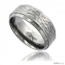 Titanium 8mm Flat Wedding Band Ring Polish Hammered Finish beveled Edges Comfort-fit