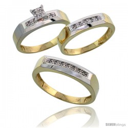 10k Yellow Gold Diamond Trio Engagement Wedding Ring 3-piece Set for Him & Her 5 mm & 4.5 mm, 0.14 cttw Bril -Style Ljy009w3