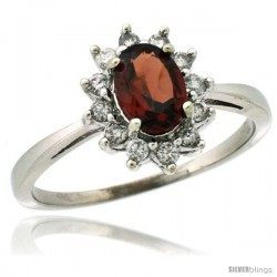 14k White Gold Diamond Halo Garnet Ring 0.85 ct Oval Stone 7x5 mm, 1/2 in wide