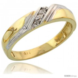10k Yellow Gold Ladies Diamond Wedding Band Ring 0.02 cttw Brilliant Cut, 3/16 in wide -Style Ljy010lb