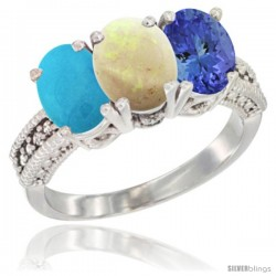 14K White Gold Natural Turquoise, Opal & Tanzanite Ring 3-Stone 7x5 mm Oval Diamond Accent