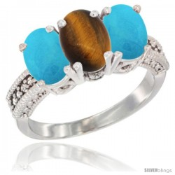 14K White Gold Natural Tiger Eye & Turquoise Sides Ring 3-Stone 7x5 mm Oval Diamond Accent