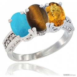 14K White Gold Natural Turquoise, Tiger Eye & Whisky Quartz Ring 3-Stone 7x5 mm Oval Diamond Accent