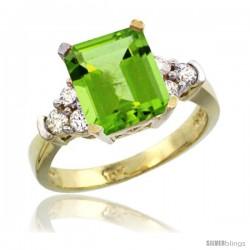 10k Yellow Gold Ladies Natural Peridot Ring Emerald-shape 9x7 Stone