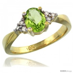 10k Yellow Gold Ladies Natural Peridot Ring oval 7x5 Stone -Style Cy911168