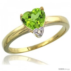 10K Yellow Gold Natural Peridot Heart-shape 7x7 Stone Diamond Accent