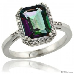 10k White Gold Diamond Mystic Topaz Ring 2.53 ct Emerald Shape 9x7 mm, 1/2 in wide
