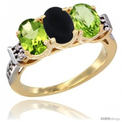 10K Yellow Gold Natural Black Onyx & Peridot Sides Ring 3-Stone Oval 7x5 mm Diamond Accent