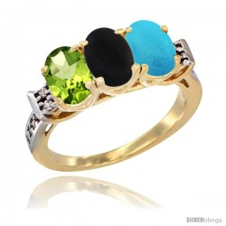 10K Yellow Gold Natural Peridot, Black Onyx & Turquoise Ring 3-Stone Oval 7x5 mm Diamond Accent