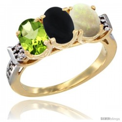 10K Yellow Gold Natural Peridot, Black Onyx & Opal Ring 3-Stone Oval 7x5 mm Diamond Accent