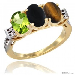 10K Yellow Gold Natural Peridot, Black Onyx & Tiger Eye Ring 3-Stone Oval 7x5 mm Diamond Accent
