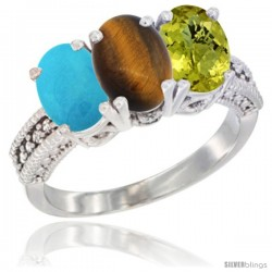 14K White Gold Natural Turquoise, Tiger Eye & Lemon Quartz Ring 3-Stone 7x5 mm Oval Diamond Accent
