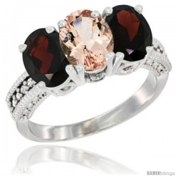 14K White Gold Natural Morganite & Garnet Sides Ring 3-Stone 7x5 mm Oval Diamond Accent