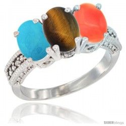 14K White Gold Natural Turquoise, Tiger Eye & Coral Ring 3-Stone 7x5 mm Oval Diamond Accent