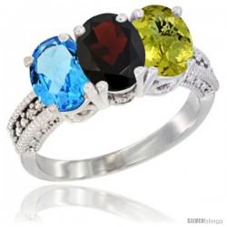 10K White Gold Natural Swiss Blue Topaz, Garnet & Lemon Quartz Ring 3-Stone Oval 7x5 mm Diamond Accent