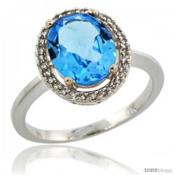 10k White Gold Diamond Halo Blue Topaz Ring 2.4 carat Oval shape 10X8 mm, 1/2 in (12.5mm) wide
