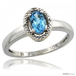 10k White Gold Diamond Halo Blue Topaz Ring 0.75 Carat Oval Shape 6X4 mm, 3/8 in (9mm) wide