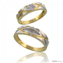 10k Yellow Gold Diamond Wedding Rings 2-Piece set for him 6mm & Her 5mm 0.06 cttw Brilliant Cut