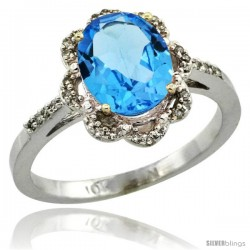 10k White Gold Diamond Halo Blue Topaz Ring 1.65 Carat Oval Shape 9X7 mm, 7/16 in (11mm) wide