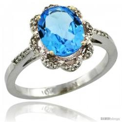 10k White Gold Diamond Halo Blue Topaz Ring 1.65 Carat Oval Shape 9X7 mm, 7/16 in (11mm) wide