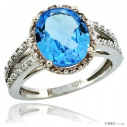 10k White Gold Diamond Halo Blue Topaz Ring 2.85 Carat Oval Shape 11X9 mm, 7/16 in (11mm) wide