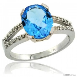 10k White Gold and Diamond Halo Blue Topaz Ring 2.4 carat Oval shape 10X8 mm, 3/8 in (10mm) wide
