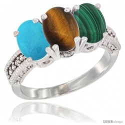 14K White Gold Natural Turquoise, Tiger Eye & Malachite Ring 3-Stone 7x5 mm Oval Diamond Accent