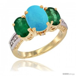 14K Yellow Gold Ladies 3-Stone Oval Natural Turquoise Ring with Emerald Sides Diamond Accent