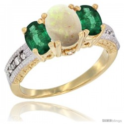 14k Yellow Gold Ladies Oval Natural Opal 3-Stone Ring with Emerald Sides Diamond Accent