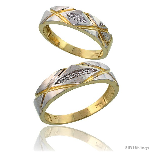10k Yellow Gold Diamond Wedding Rings 2 Piece set for him 6mm & Her 5mm 0