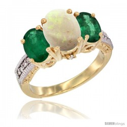 14K Yellow Gold Ladies 3-Stone Oval Natural Opal Ring with Emerald Sides Diamond Accent