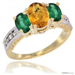 14k Yellow Gold Ladies Oval Natural Whisky Quartz 3-Stone Ring with Emerald Sides Diamond Accent