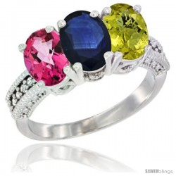 14K White Gold Natural Pink Topaz, Blue Sapphire & Lemon Quartz Ring 3-Stone 7x5 mm Oval Diamond Accent