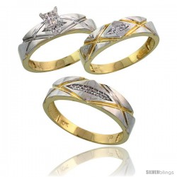 10k Yellow Gold Trio Engagement Wedding Rings Set for Him & Her 3-piece 6 mm & 5 mm wide 0.12 cttw Brilliant Cut