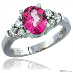14k White Gold Ladies Natural Pink Topaz Ring oval 9x7 Stone Diamond Accent