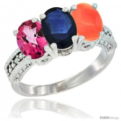 14K White Gold Natural Pink Topaz, Blue Sapphire & Coral Ring 3-Stone 7x5 mm Oval Diamond Accent