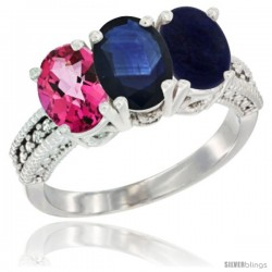 14K White Gold Natural Pink Topaz, Blue Sapphire & Lapis Ring 3-Stone 7x5 mm Oval Diamond Accent