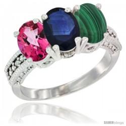 14K White Gold Natural Pink Topaz, Blue Sapphire & Malachite Ring 3-Stone 7x5 mm Oval Diamond Accent