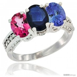 14K White Gold Natural Pink Topaz, Blue Sapphire & Tanzanite Ring 3-Stone 7x5 mm Oval Diamond Accent